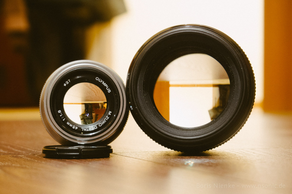 Olympus 45mm/1.8 vs. Canon 85mm/1.8