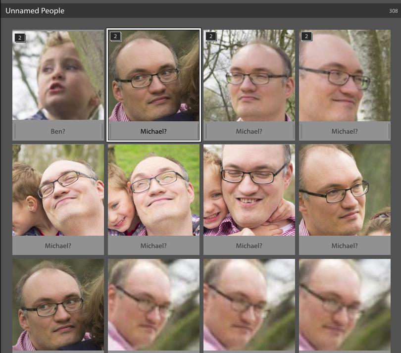 Lightroom 6 – Zum Ende hin gab es gar keine Gesichterstapel mehr sondern nur noch Einzelbilder, obwohl eindeutig gleiche Gesichter zu sehen sind