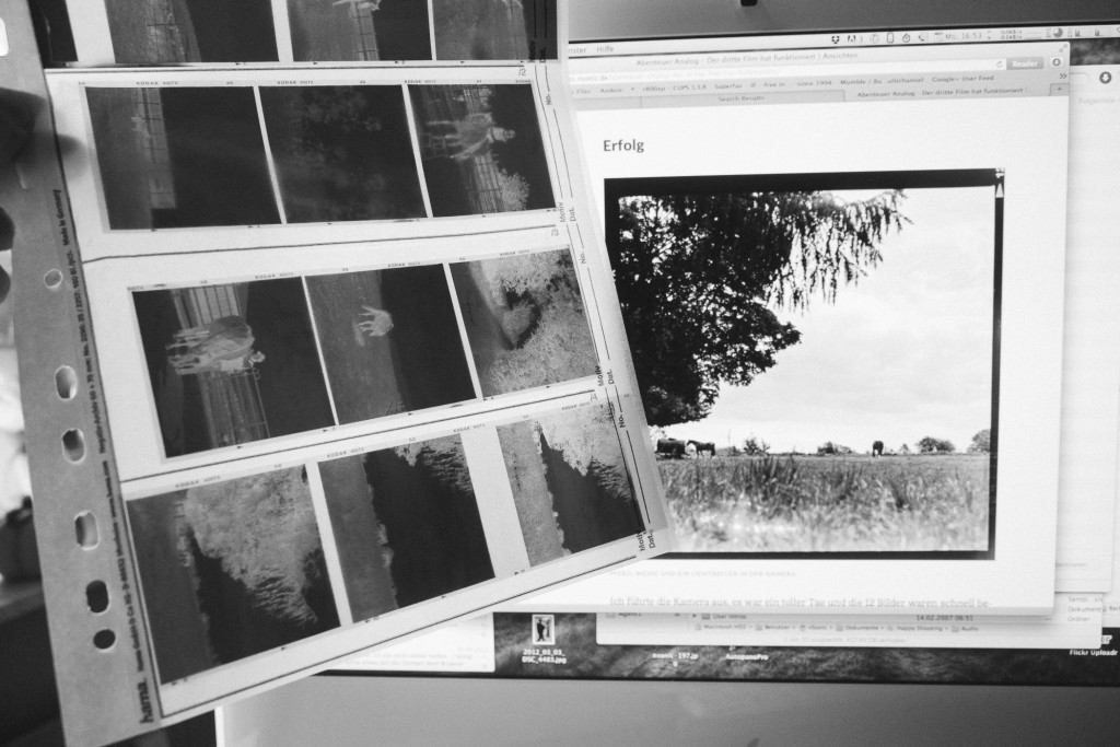 Beim 6×6 Format passen immer drei Negative in eine Reihe. So passen alle 12 Aufnahmen auf eine Seite