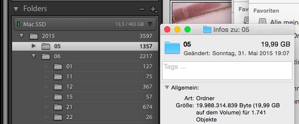 Beispiel für den Platzverbrauch eines Monatsordners mit RAW-Dateien – 19,99 GB für 1357 Dateien