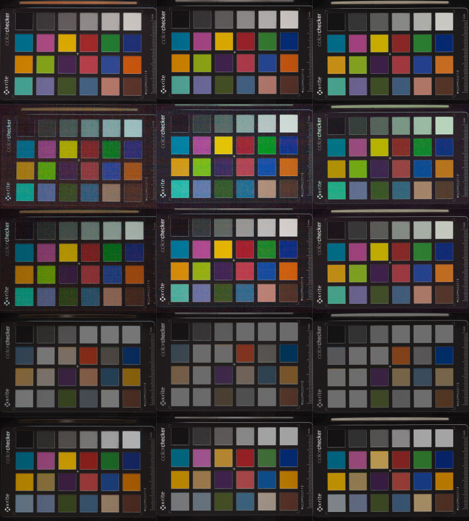 Dynamik und Rauschen im Vergleich. Von links nach rechts: Canon EOS 350D, Canon EOS 5D, Olympus OM-D E-M1. Von oben nach unten: Referenzaufnahme, -5, -4, +5, +4 Blendenstufen (jeweils in Lightroom korrigiert)