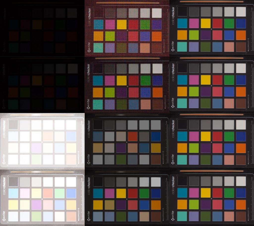 Aufnahmenreihe der Canon 350D, ISO 100. Von oben nach unten: Unterbelichtung um 5 und 4 Blendenstufen, Überbelichtung um 5 und 4 Stufen. Links nach rechts: Aufnahme aus der Kamera, in Lightroom korrigiert, Referenzaufnahme bei korrekter Belichtung.