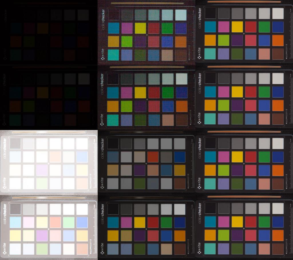Aufnahmenreihe der Canon 350D, ISO 100, nachträglich Weißabgleich angepasst. Von oben nach unten: Unterbelichtung um 5 und 4 Blendenstufen, Überbelichtung um 5 und 4 Stufen. Links nach rechts: Aufnahme aus der Kamera, in Lightroom korrigiert, Referenzaufnahme bei korrekter Belichtung.