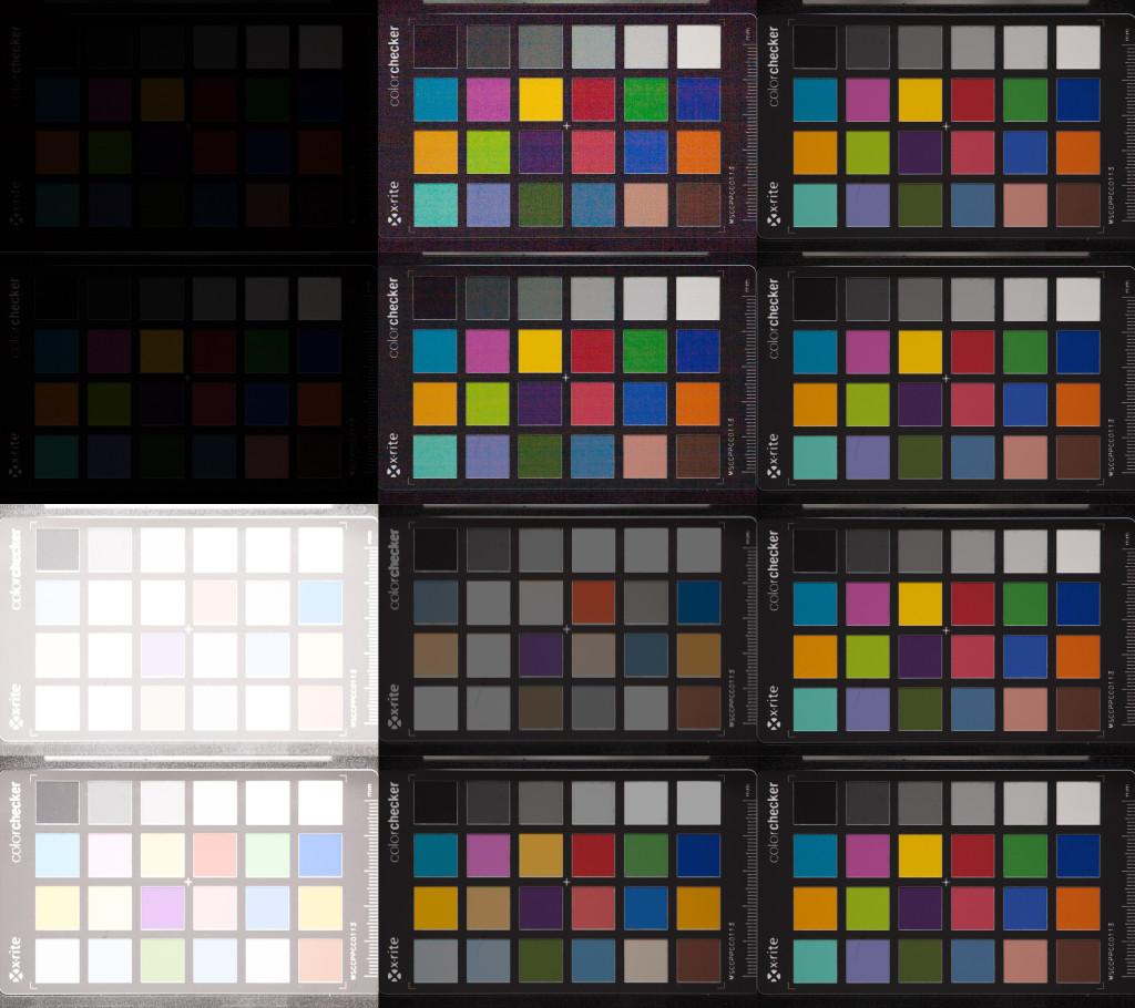 Aufnahmenreihe der Canon 5D, ISO 100. Von oben nach unten: Unterbelichtung um 5 und 4 Blendenstufen, Überbelichtung um 5 und 4 Stufen. Links nach rechts: Aufnahme aus der Kamera, in Lightroom korrigiert, Referenzaufnahme bei korrekter Belichtung.