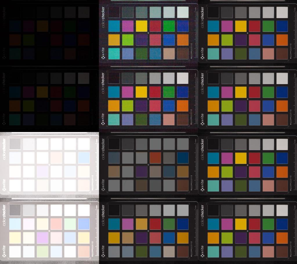 Aufnahmenreihe der Canon 5D, ISO 100, nachträglich Weißabgleich angepasst. Von oben nach unten: Unterbelichtung um 5 und 4 Blendenstufen, Überbelichtung um 5 und 4 Stufen. Links nach rechts: Aufnahme aus der Kamera, in Lightroom korrigiert, Referenzaufnahme bei korrekter Belichtung.