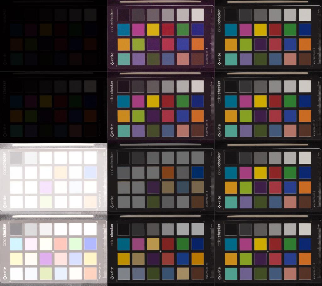 Aufnahmenreihe der Olympus OM-D E-M1, ISO 200. Von oben nach unten: Unterbelichtung um 5 und 4 Blendenstufen, Überbelichtung um 5 und 4 Stufen. Links nach rechts: Aufnahme aus der Kamera, in Lightroom korrigiert, Referenzaufnahme bei korrekter Belichtung.