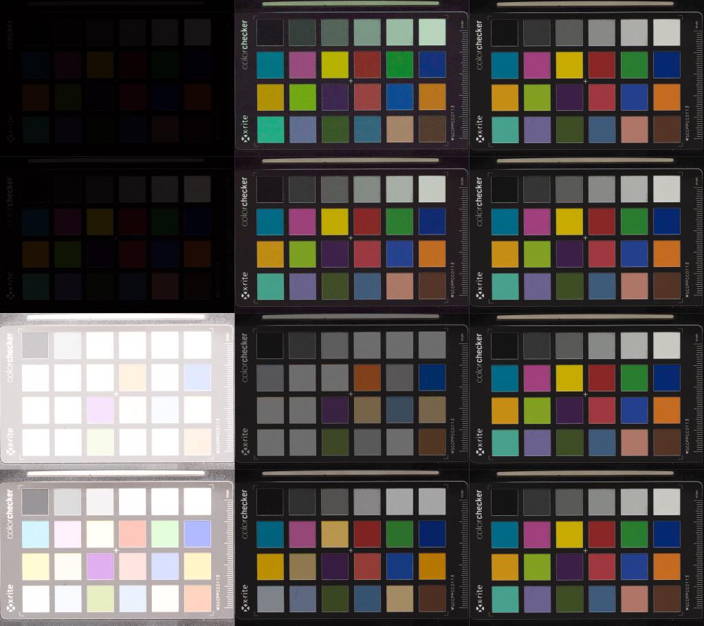 Aufnahmenreihe der Olympus OM-D E-M1, ISO 200, nachträglich Weißabgleich angepasst. Von oben nach unten: Unterbelichtung um 5 und 4 Blendenstufen, Überbelichtung um 5 und 4 Stufen. Links nach rechts: Aufnahme aus der Kamera, in Lightroom korrigiert, Referenzaufnahme bei korrekter Belichtung.