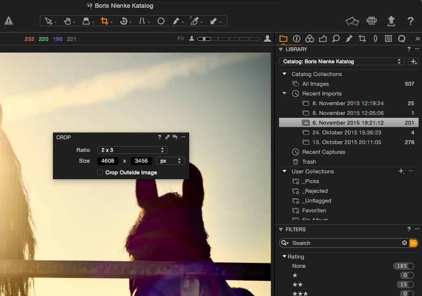 Capture One Pro 8 – Das Crop-Tool – und auch andere Werkzeuge – lassen sich mit rechter Maustaste als schwebende Palette einblenden