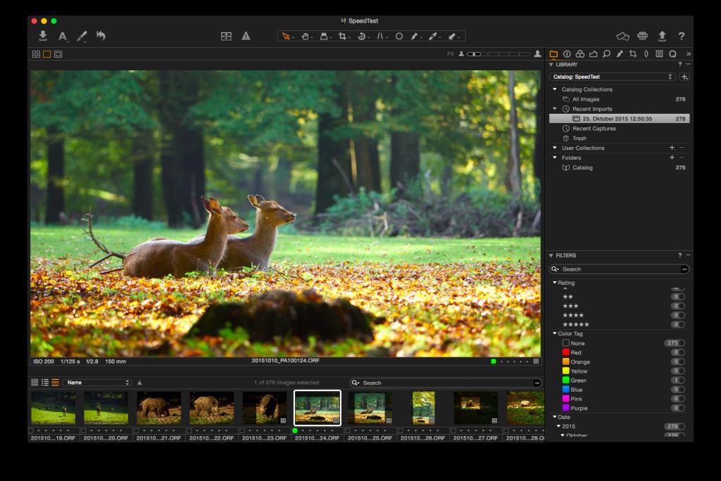 Capture One Pro 8 – Filmstreifen etwas höher gezogen, schon sind die Informationen zu sehen
