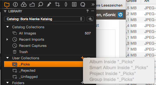 Capture One Pro 8 – Neue Alben anlegen funktioniert nicht wenn ein Smart Album aktiv ist