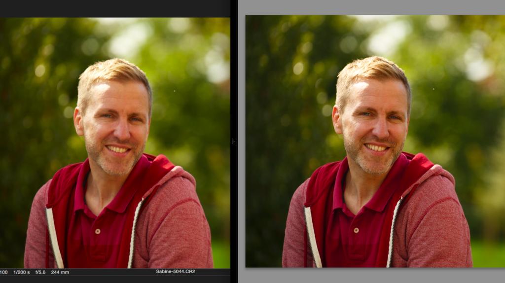 Capture One Pro 8 (links) vs. Lightroom 6 (rechts). In Lightroom nur ein Kamera-Profil gewählt. (Foto entstand auf einem Happy-Shooting-Workshop von Sabine)