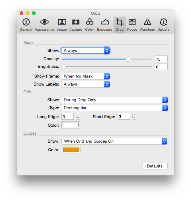 Capture One Pro 8 – Einstellungen für den Crop. Die Abdunklung kann eingestellt werden