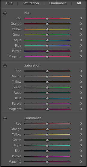 Lightroom 6 – Acht vorgegebene Farbkanäle ohne Möglichkeiten den genauen Bereich oder die Übergänge zwischen den Kanälen zu definieren