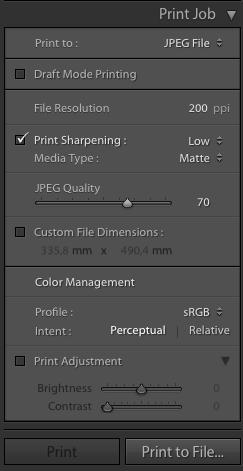 Es muss nicht immer ein Drucker sein – Lightroom kann auch in eine JPEG-Datei ausgeben