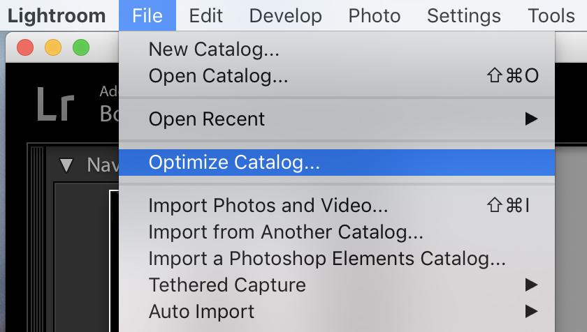 Lightroom 6 – Nachdem man viele Daten gelöscht hat, sollte man die Katalog-Optimierung einmal laufen lassen, damit die Katalog-Datei wirklich kleiner wird
