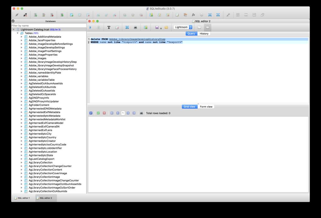 Lightroom 6 – Bearbeitungs-Historie gezielt löschen – SQL als Seziermesser. ACHTUNG: Nur nachmachen wenn Ihr genau wisst was Ihr da tut!
