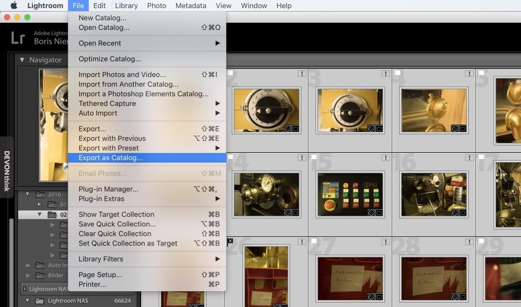 """Lightroom: Bilder markieren und im Ablage-Menü """"Export als Katalog… wählen"""