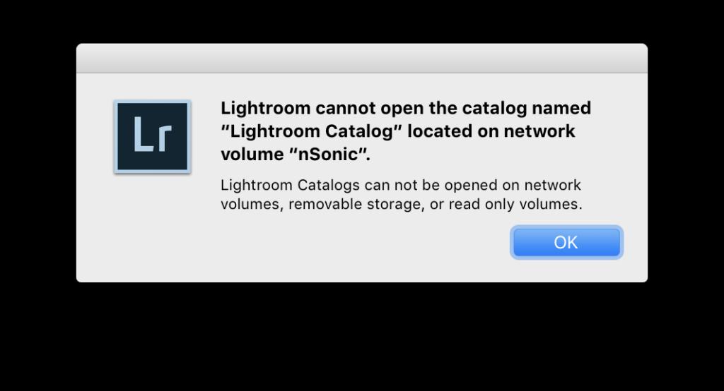 Lightroom öffnet keine Kataloge, die sich auf Netzwerklaufwerken befinden